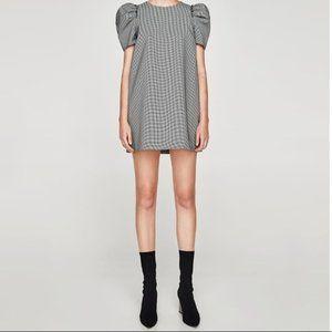 Zara Houndstooth Puff Sleeve Minidress